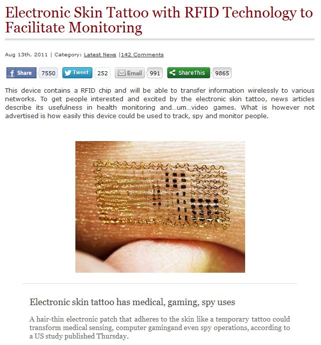 read more: http://vigilantcitizen.com/latestnews/electronic-skin-tattoo-with-rfid-technology-to-facilitate-monitoring/